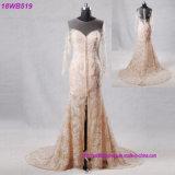 Backless Champagne-Farben-langes Hülsen-Hochzeits-Kleid sehen