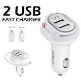 3.4A el doble de rápido coche USB Cargador USB con cable micro USB de 24 cm.