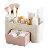 Maquillaje de sobremesa de plástico de la caja de almacenamiento de joyero multiuso en el hogar con una pequeña bandeja