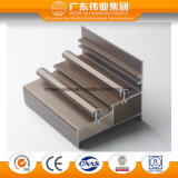 Perfil de alumínio de madeira da porta deslizante de trilha dobro da grão