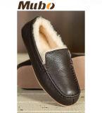 Hombres del cuero genuino de piel de oveja zapatillas mocasín