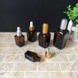 quadratische bernsteinfarbige GlasFlaschenglas-wesentliches Öl-Flasche des tropfenzähler-30ml