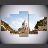 5 mundo moderno del panel HD Disney, pinturas enmarcadas pared del arte de la lona de la impresión del arte del castillo de Cinderella para el cuadro Kn-16 de la pared de la sala de estar