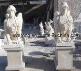 Snijdende Standbeeld van Children&Angel van de Tuin van de Steen van White&Yellow het Marmeren met Vleugels