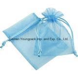 卸し売りバルク安いキャンデーのための習慣によって個人化される小さい3X4青いオーガンザの結婚披露宴の好意袋