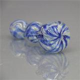 Tubulação de vidro de vidro da mão da listra azul da tubulação da colher da tubulação de fumo da tubulação