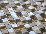Shell de agua dulce y mármol y mosaico de vidrio de cristal