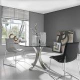 현대 금속 둥근 유리제 테이블