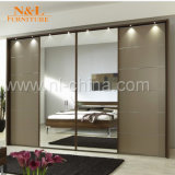 Wood Sliding Door Closet Wardrobe with White Color PVC Door