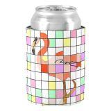 Vintage Design personnalisé de fournitures de mariage Flamingo Rainbow Damier peut pour les jeunes mariés du refroidisseur de canette de bière Titulaire pour un couple