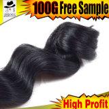 Волос девственницы черноты двигателя волосы волны бразильских свободные