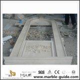 Século esculpida em pedra mármore Bege da moldura da janela
