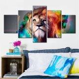 Löwe-Farbanstrich-Wand-Abbildungen für Wohnzimmer 5 bessert Tierplakate aus und druckt Hauptdekoration-Segeltuch-Kunst