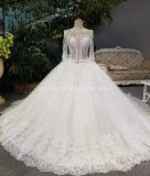 アラビアのウェディングドレスの光沢がある水晶長い袖