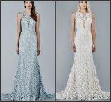 Vestido de noite Sleeveless nupcial Ivory azul E15119 do casamento do laço do vestido de partido do baile de finalistas