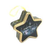 Cinco Estrellas de la Navidad tin box con cinta de seda