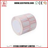 Escritura de la etiqueta auta-adhesivo termal del uso del espacio en blanco de la alta calidad