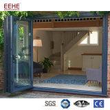 Puerta de plegamiento de cristal de la aleación de aluminio con el vidrio doble Tempered