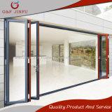 Porta de dobradura exterior de alumínio da porta de painel do frame com vitrificação dobro