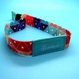 Bracelete tecido RFID dos wristbands da tela dos eventos NTAG213 NFC do festival