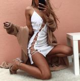 Frauenreizvolles tägliches weißes Fasciola-Kleid