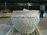 Стороны вырезанные из белого мрамора и гранита кадки для сада и двор