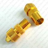 Connecteur mâle d'or de fiche de pal TV à vis pour le câble coaxial d'antenne de RG6 et de Rg59 TV