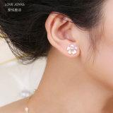 Monili dentellare degli orecchini della vite prigioniera della perla della ciliegia del fiore di modo (Lovejoyas)