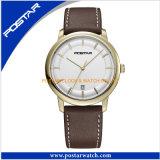 Relógio de quartzo do aço inoxidável com a faixa do couro genuíno