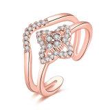 로즈 금이 입방 지르코니아 열리는 반지 인공적인 보석을 도금했다