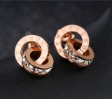 Nam de Gouden Oorringen van de Daling van de Vrouwen van de Oorringen van de Cirkel van de Kleur Dubbele om het Glanzen Roman Juwelen van Cijfers Zircon toe