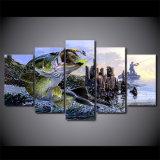 نوع خيش طبع صورة زيتيّة 5 قطعات [لرجمووث بسّ] صيد سمك جدار [أرت كنفس] صور لأنّ يعيش غرزة غرفة نوم منزل زخرفة