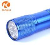 9LED ultra brillante de aluminio batería AAA clave Linterna fluorescente