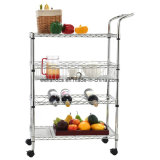 Durable 3-Tier Chrome Kitchen Food Frutos Metal Wire Shelf Cart