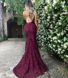 Lace Prom vestido roxo Vinho Partido Backless Suite Noite Dress Ld15266