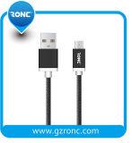 Pass tressé en Nylon 1a 1m de fil électrique de charge de données Câble micro USB