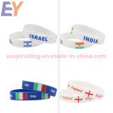 Wristband poco costoso su ordinazione del silicone della stampa di marchio, braccialetto promozionale della gomma dei regali