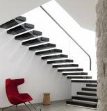 Escalier en bois flottant dirigé directement avec le verre balustrade Balustrade en acier inoxydable
