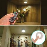 Luz LED puck ultrafino, luces en el armario accionado por batería con control remoto