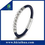 Un braccialetto di cuoio delle 2018 di modo dell'acciaio inossidabile dei braccialetti dei monili donne del Mens