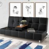 居間の現代レザーの不精な折るソファー
