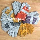 De met rubber bekleede Handschoenen van het Werk van het Leer van de Koe van de Palm van het Manchet Volledige Gespleten met Ce- Certificaat