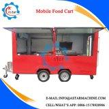Kar met 4 wielen de van uitstekende kwaliteit van het Voedsel van het Roestvrij staal van de Hotdog