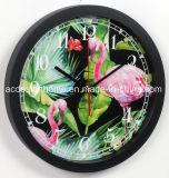 Orologio di parete decorativo di plastica di Digitahi della pioggia di Forrest del fenicottero del nero tropicale di immaginazione