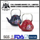 Fábrica Customized Flower Decal Enamel Kettle with Stainless Steel Handle