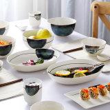 高温艶をかけられたさざ波は寿司の食事用食器セットを皿に盛る