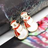 かわいく黒いアクリルのエナメルのクリスマスのスノーマンのスタッドのイヤリング