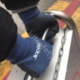Blauer Bambusfaser-Arbeits-Handschuh mit Latex-Schaumgummi-Beschichtung (L3014)