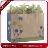 Mode peinte de clients de Posies enveloppant le sac de papier d'emballage de cadeau d'achats avec la chaîne de caractères