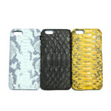 Caixa móvel do telefone de pilha do couro genuíno da pele do pitão para o iPhone
